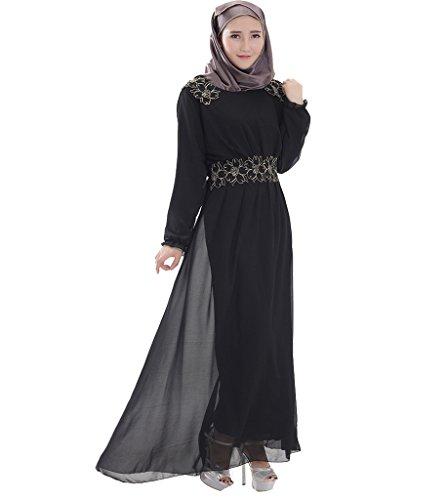 GladThink Frauen Muslim Langarm Chiffon Kaftan Islamischen Maxi Kleid Schwarz M