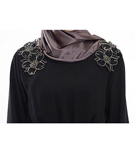 GladThink Frauen Muslim Langarm Chiffon Kaftan Islamischen Maxi Kleid Schwarz M -