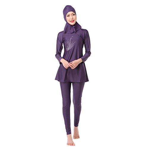 Muslimische Frauen Bademode Mädchen zurückhaltenden Islamische Hijab Badeanzüge Burkini, violett