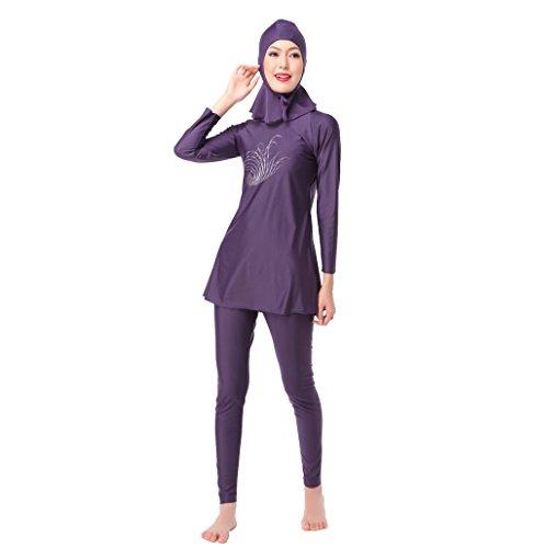 Muslimische Frauen Bademode Mädchen zurückhaltenden Islamische Hijab Badeanzüge Burkini, violett -