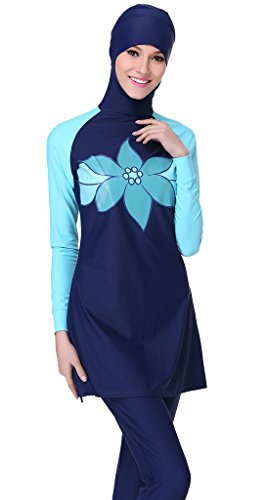 Ababalaya Muslimische Swimwear Beachwear Burkini Modest Badebekleidung, Blau, M -