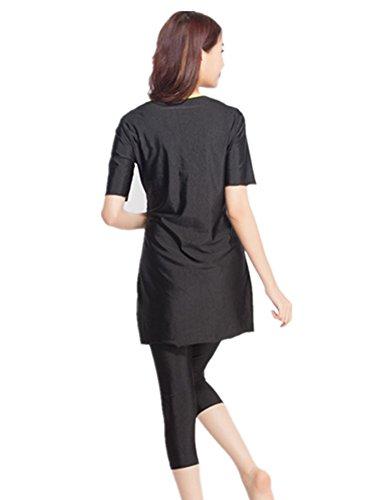 Damen Kurz Hülse Muslim islamisch Burkini Bescheiden Bademode Dame Badeanzug (3XL, schwarz) -