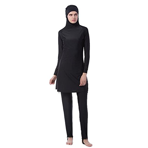 Meijunter Middle East Muslim Bescheiden Voller Deckel Sun Protection 2-Stück Badeanzug Bathing Suit islamisch Araber Malaysia Hijab Bademode Burkini Beachwear Für Frauen (Farbe:Schwarz,Größe:M)