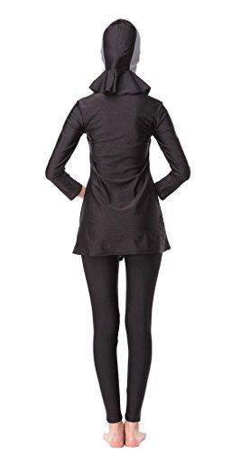 GladThink Frauen-muslimischen Burkini 3-Stück-Badeanzug Bademode Grau XXXL -