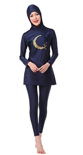 GladThink Frauen-muslimischen 2-Stück-Badeanzug mit Bademütze Blau M