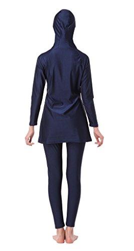 GladThink Frauen-muslimischen 2-Stück-Badeanzug mit Bademütze Blau M -