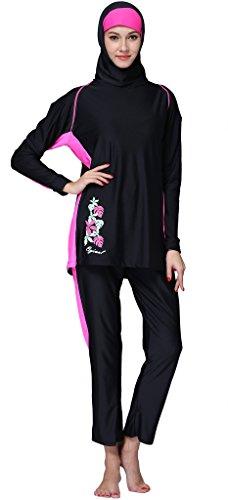 Ababalaya Muslimische Swimwear Beachwear Burkini Modest Badebekleidung, Schwarz, XXXXL