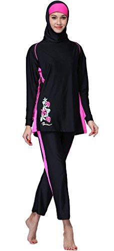 Ababalaya Muslimische Swimwear Beachwear Burkini Modest Badebekleidung, Schwarz, XXXXL -