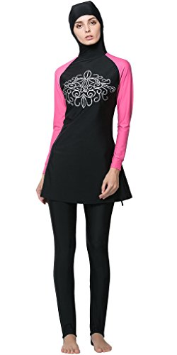 Ababalaya Muslimische Swimwear Beachwear Burkini Modest Badebekleidung, Rosa, XL -