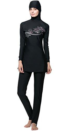 Ababalaya Muslimische Swimwear Beachwear Burkini Modest Badebekleidung, Schwarz, L