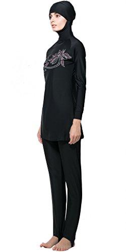 Ababalaya Muslimische Swimwear Beachwear Burkini Modest Badebekleidung, Schwarz, L -
