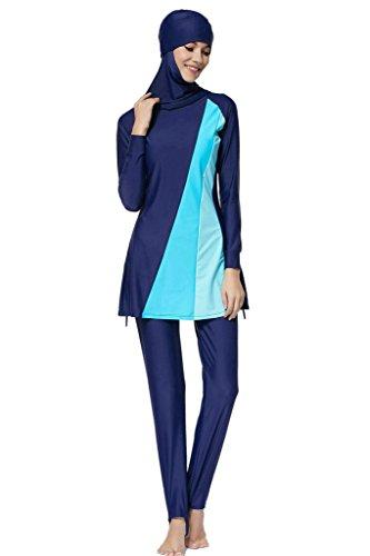 Ababalaya Muslimische Swimwear Beachwear Burkini Modest Badebekleidung, Blau, XXXXL -