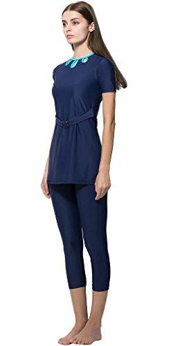 Ababalaya Muslimische Swimwear Beachwear Burkini Modest Badebekleidung, Blau, S -