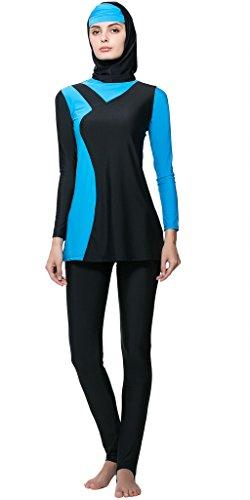 Ababalaya Muslimische Swimwear Beachwear Burkini Modest Badebekleidung, Blau, S