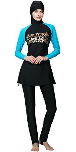 Ababalaya Muslimische Swimwear Beachwear Burkini Modest Badebekleidung, Blau, XXL
