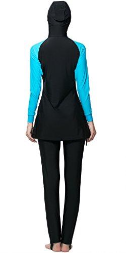 Ababalaya Muslimische Swimwear Beachwear Burkini Modest Badebekleidung, Blau, XXL -