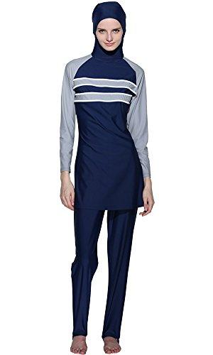 Ababalaya Muslimische Swimwear Beachwear Burkini Modest Badebekleidung, Blau, XXXXL