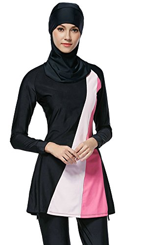 Ababalaya Damen Konservative Islamische Muslimische Badebekleidung Top & Lange Hosen und Sport-BH mit Hijab, Schwarz 001, L