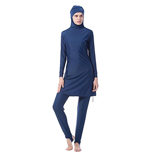 Zhuhaixmy Middle East Muslim Bescheiden Voller Deckel Sun Protection 2-Stück Badeanzug Bathing Suit islamisch Araber Malaysia Hijab Bademode Burkini Beachwear Für Frauen (Farbe:Blau,Größe:XXXXL)