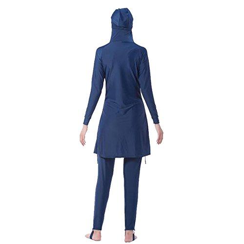 Zhuhaixmy Middle East Muslim Bescheiden Voller Deckel Sun Protection 2-Stück Badeanzug Bathing Suit islamisch Araber Malaysia Hijab Bademode Burkini Beachwear Für Frauen (Farbe:Blau,Größe:XXXXL) -