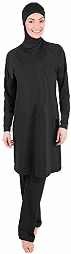 Muslimischen Badeanzug - Muslim Islamischen Full Cover Bescheidene Badebekleidung Modest Swimwear Beachwear Burkini für muslimische frauen (Int'l - XL, reines Schwarz)