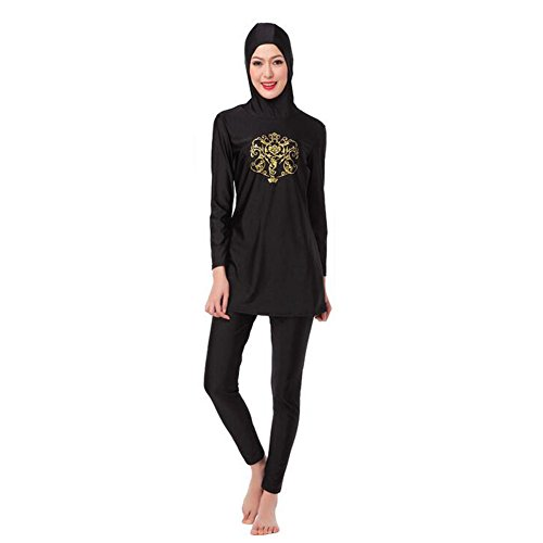 Zhuhaixmy Frauen Muslim islamisch Malaysia 2-Stück Bescheiden Voller Deckel Befestigt Kappe Burkini Bademode Araber Middle East Hijab Badeanzug Malaysia Bathing Suit (Farbe:Schwarz,Größe:XXL)