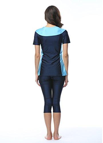 OUO Damen Muslimischen Badeanzug Wetsuit Wassersport Oberteil und Hose-Navyblau-XL -