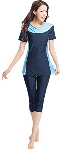 YEESAM Bescheiden Bademode Frauen Surfing Suit Muslim Hindu Jüdisch Shorts Badeanzug Sonnenschutzmittel (Asien S - Höhe: 150-155cm, Navy blau)