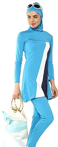 YEESAM Muslimischen Badeanzug - Muslim Islamischen Bescheidene Badebekleidung Modest Swimwear Burkini für muslimische frauen - hijab abnehmbaren (Asien S ~~ EU-Größe 34 - 36, hellblau)