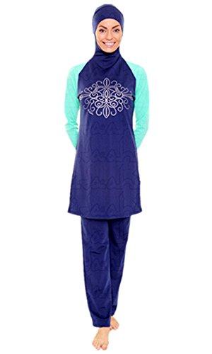 Muslimischen Damen Badeanzug Muslim Islamischen Full Cover Bescheidene Badebekleidung Modest Muslim Swimwear Beachwear Burkini (Asien S ~~ EU-Größe 34 - 36, Hijab connected-6)
