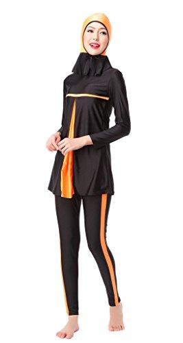 GladThink Frauen-muslimischen Burkini 3-Stück-Badeanzug Bademode Orange M