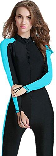 Modest Swimwear - Taucheranzug Damen Herren Mädchen UV Schutzkleidung Sunsuit Ganzkörperansicht Badeanzug Overall Watersport (Int'l - S, blau)