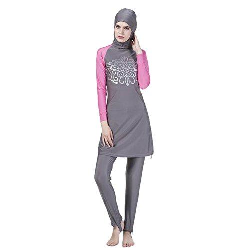 Haodasi Muslim islamisch Frauen 2-Stück Bescheiden Voller Deckel Befestigt Kappe Burkini Badeanzug Middle East Araber Hijab Bademode Malaysia Bathing Suit (Farbe:Grau,Größe:XL) -