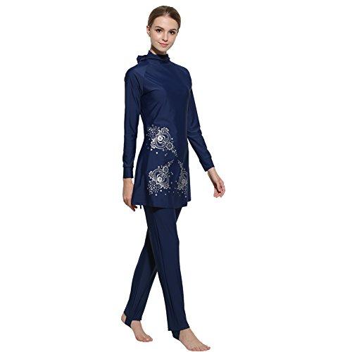 Lazy Cat Muslimischen Badeanzug - Muslim Islamischen Bescheidene Badebekleidung Modest Swimwear Beachwear Burkini für muslimische frauen (2XL (EU-Größe 42-44), Blau) -