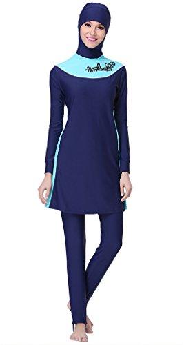 Ababalaya Muslimische Swimwear Beachwear Burkini Modest Badebekleidung, Marineblau, L