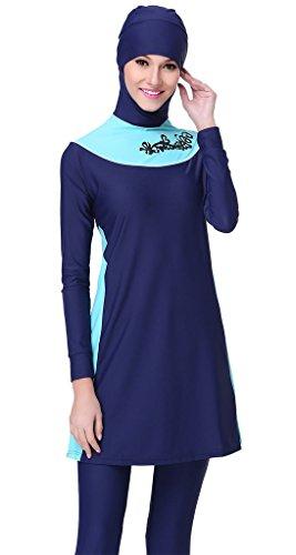 Ababalaya Muslimische Swimwear Beachwear Burkini Modest Badebekleidung, Marineblau, L -