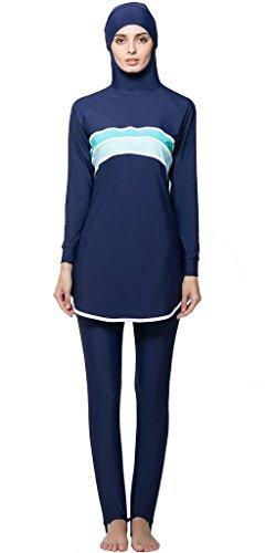 Ababalaya Muslimische Swimwear Beachwear Burkini Modest Badebekleidung, Blau, L