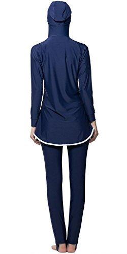 Ababalaya Muslimische Swimwear Beachwear Burkini Modest Badebekleidung, Blau, L -