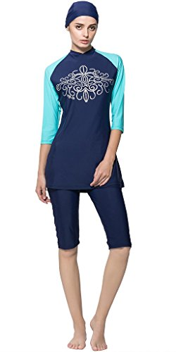Ababalaya Badebekleidung Modest Muslim Swimwear Beachwear Burkini für muslimische frauen, Blau, L