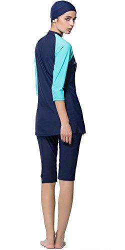 Ababalaya Badebekleidung Modest Muslim Swimwear Beachwear Burkini für muslimische frauen, Blau, L -