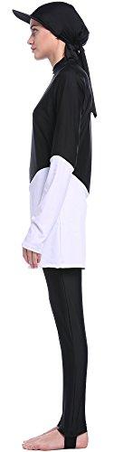 Ababalaya Damen 3pcs Modest Muslimischen Farbblock Badebekleidung Badeanzug Burkini mit hijab Visoren,Schwarz,S -